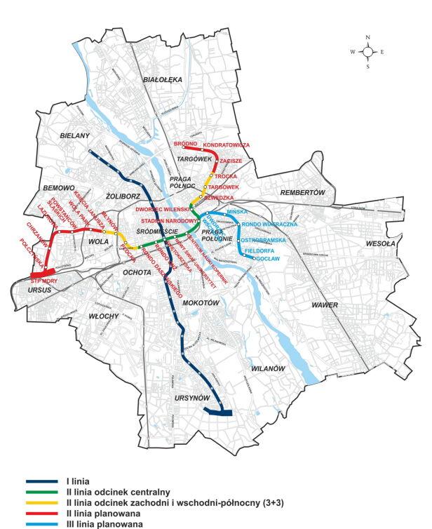 Schemat istniejących, budowanych i istniejących linii metra Metro Warszawskie