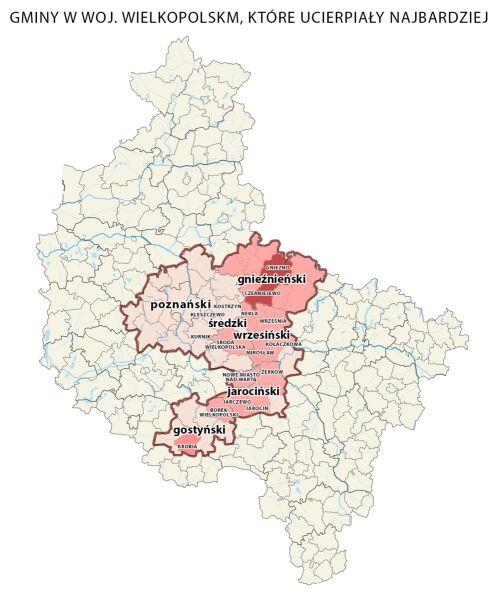Interwencje po burzy w województwie wielkopolskim. Im ciemniejszy kolor, tym ich liczba jest większa