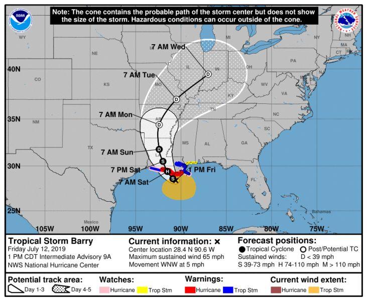 Prognozowana trasa przejścia burzy tropikalnej Barry (NHC)