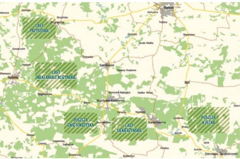 Miejsca występowania wilków na Pogórzu Świętokrzyskim (dane Lasów Państwowych)