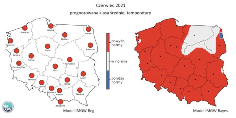 Prognozowana klasa średniej miesięcznej temperatury powietrza w czerwcu 2021 r. według modelu IMGW-Reg i IMGW-Bayes (źródło: IMGW)