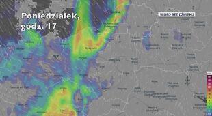 Prognozowana ilość opadów w ciągu kolejnych dni (Ventusky.com)