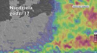 Miejsca, gdzie mogą występować burze (Ventusky.com)